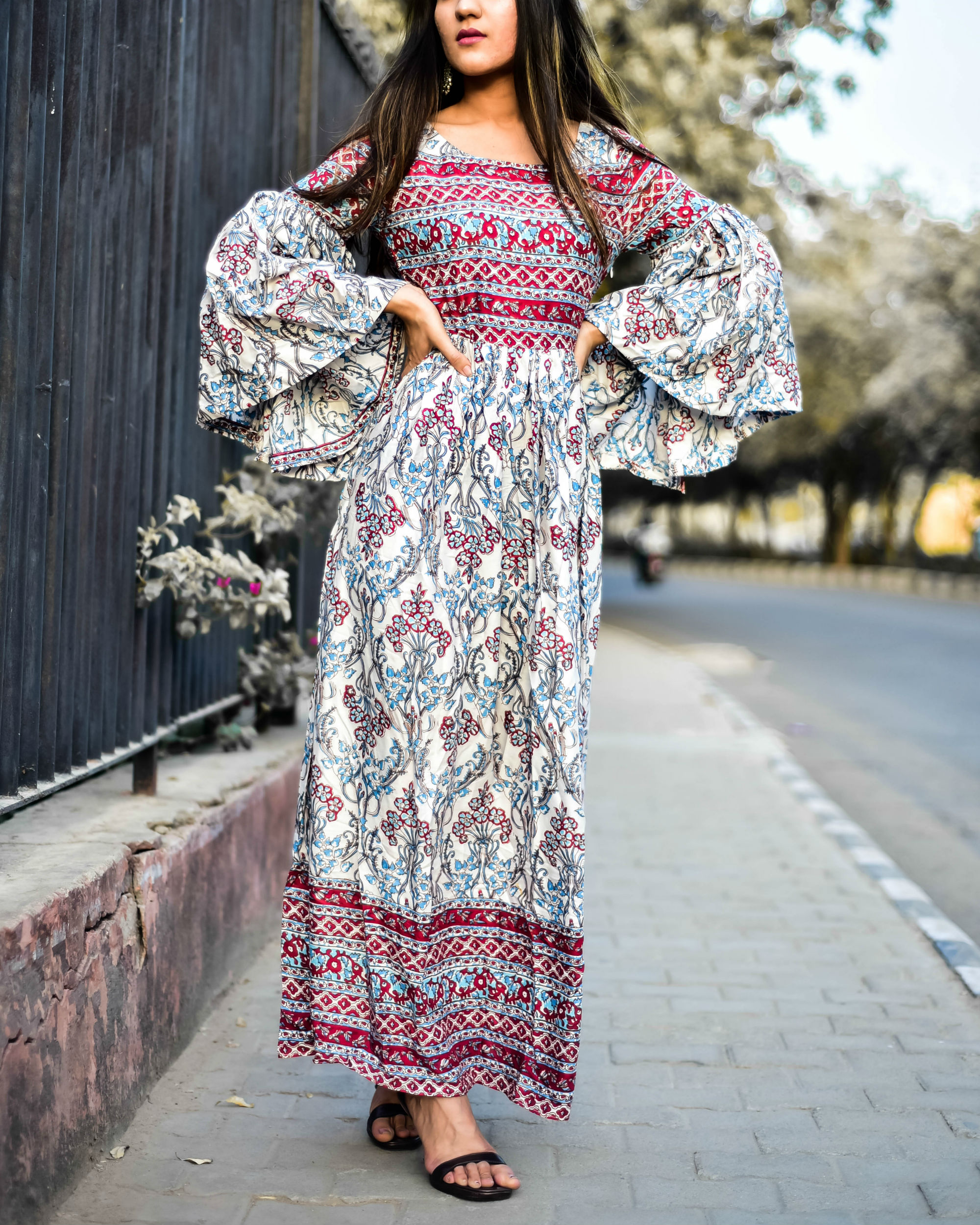 Boho Bell Sleeves Rayon Dress
