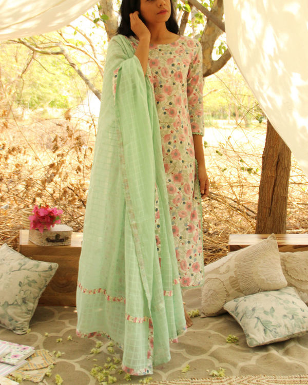 Mint Green Verdant Kurta Dupatta Set