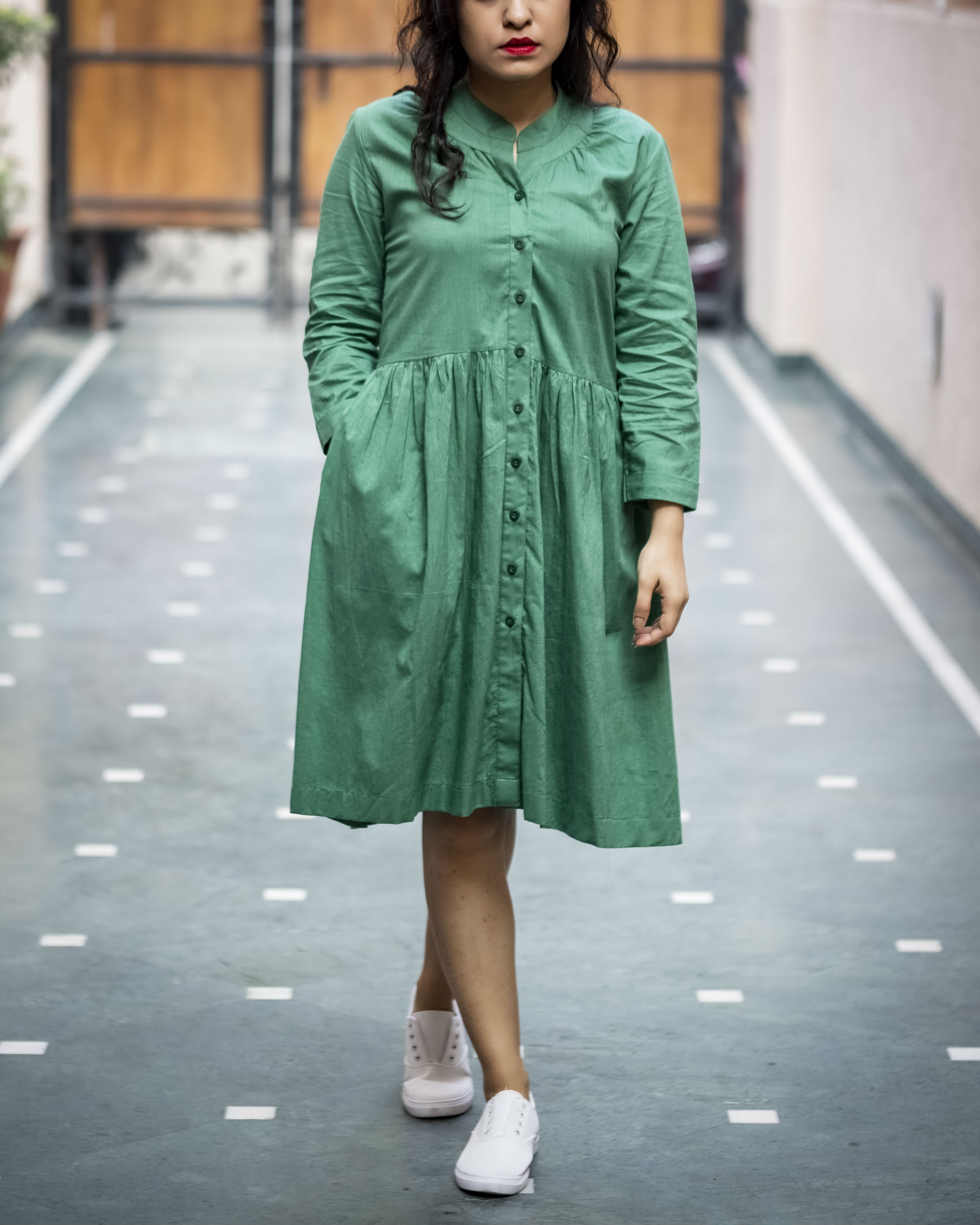 Olive Buttoned Summer Dress