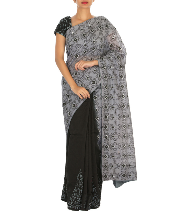 Black and grey chanderi sari with embellished blouse