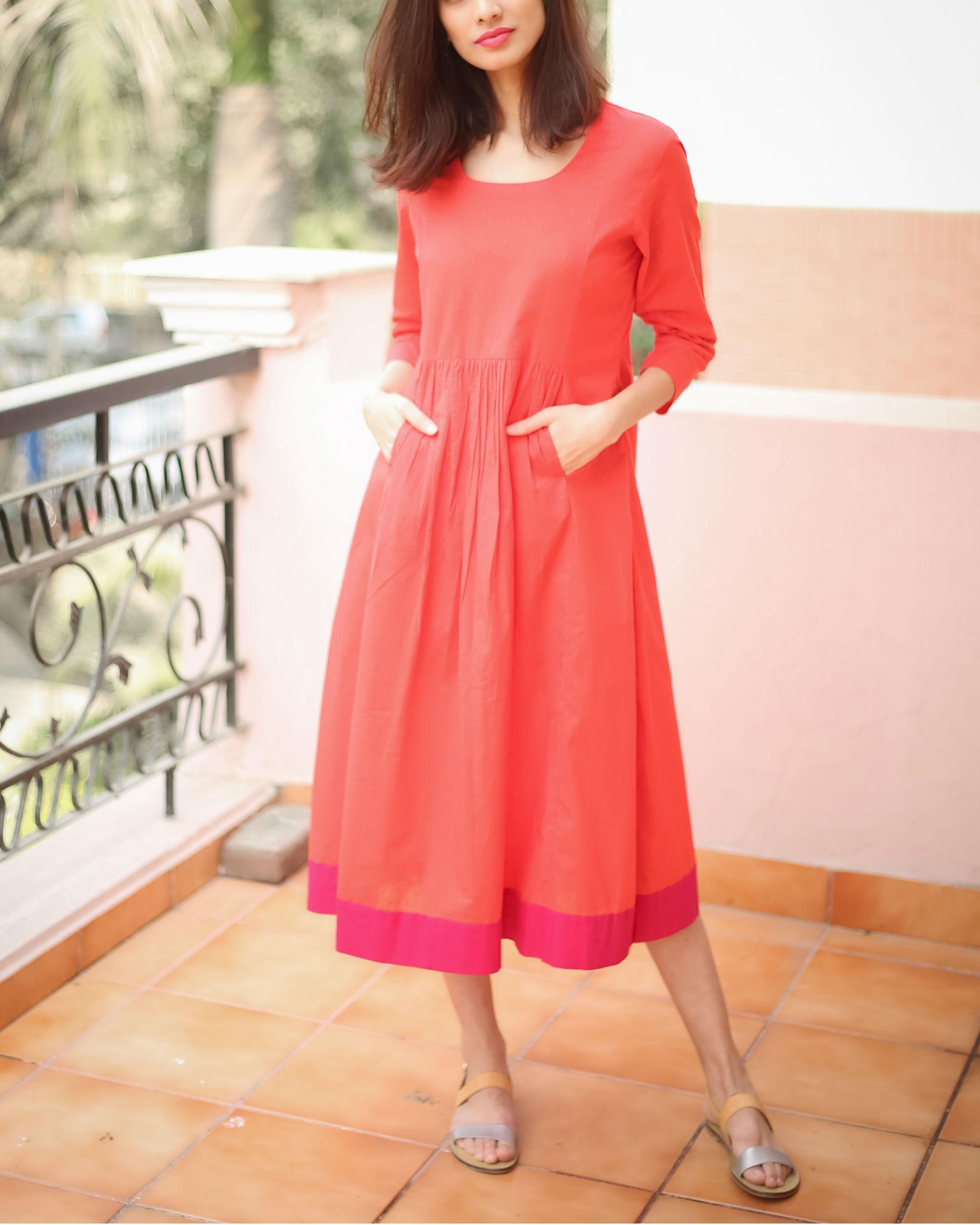 Textured Red Maxi Dress