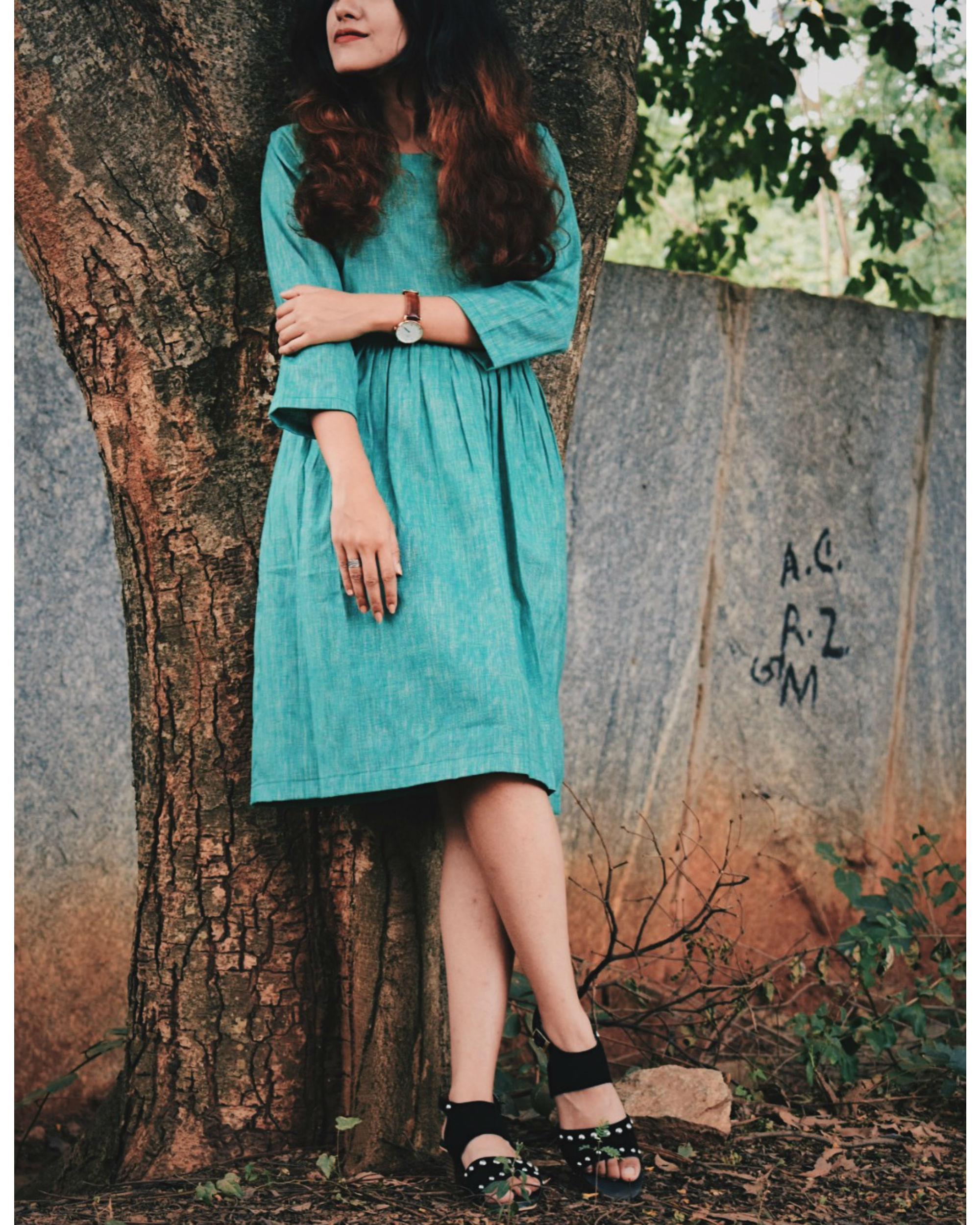 Textured Deep Green Cotton Dress
