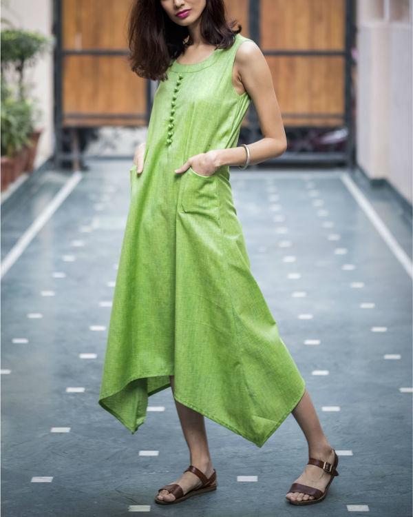 Pale Green Textured Asymmetric Dress