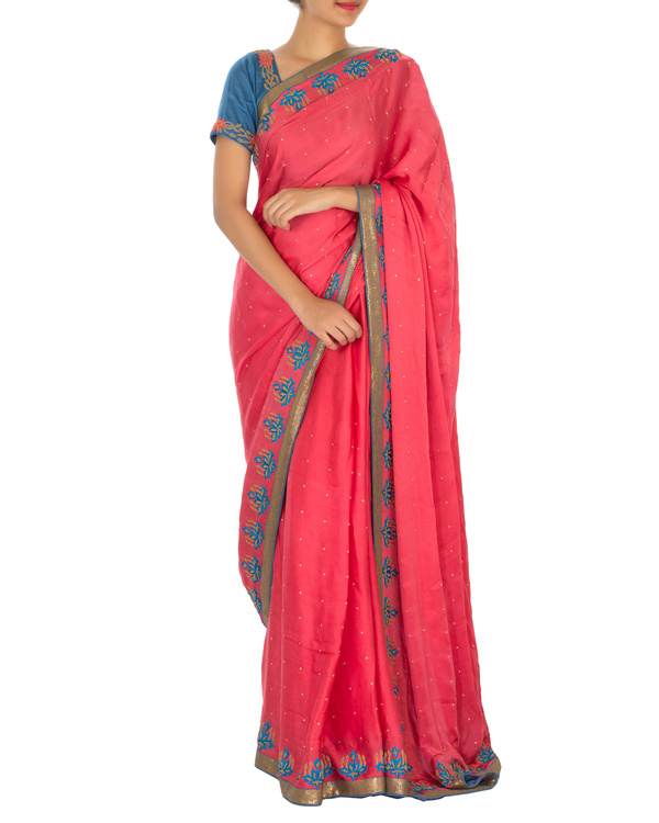 Red and blue satin sari with embroidered blouse