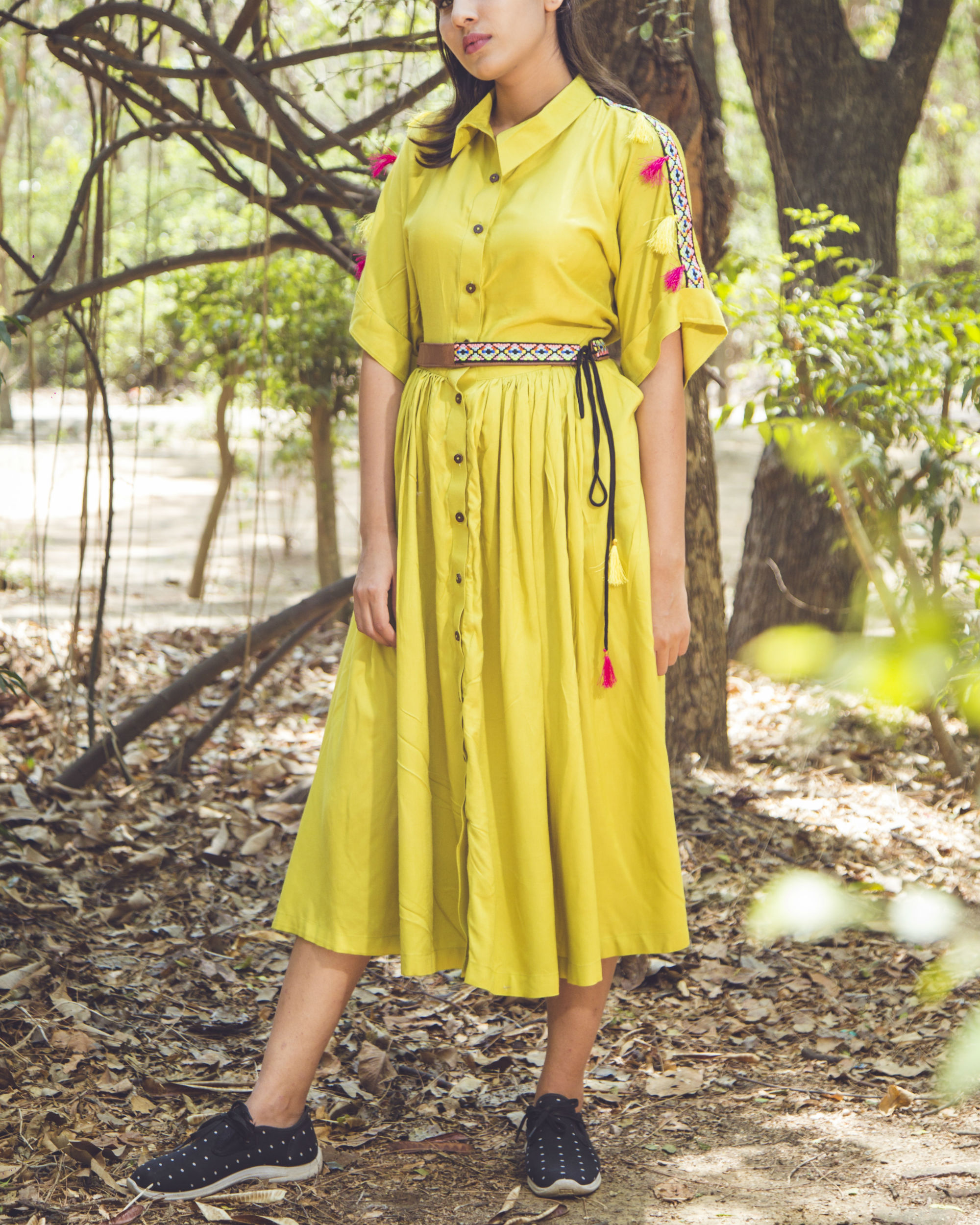 Lemon tassel midi dress