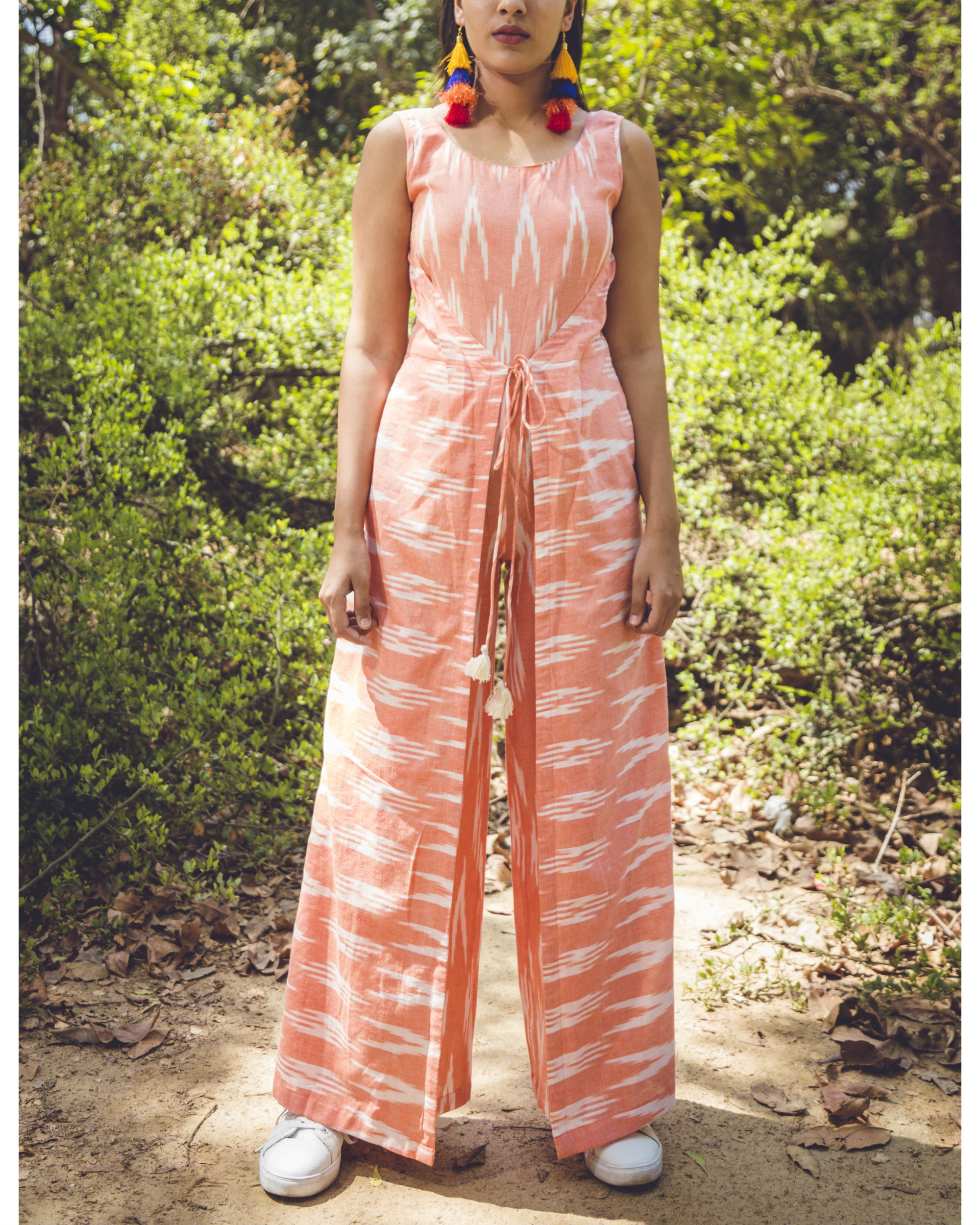 Summer peach ikat jumpsuit