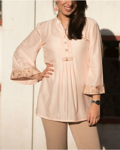 Pearl Pink Bell Sleeves Top