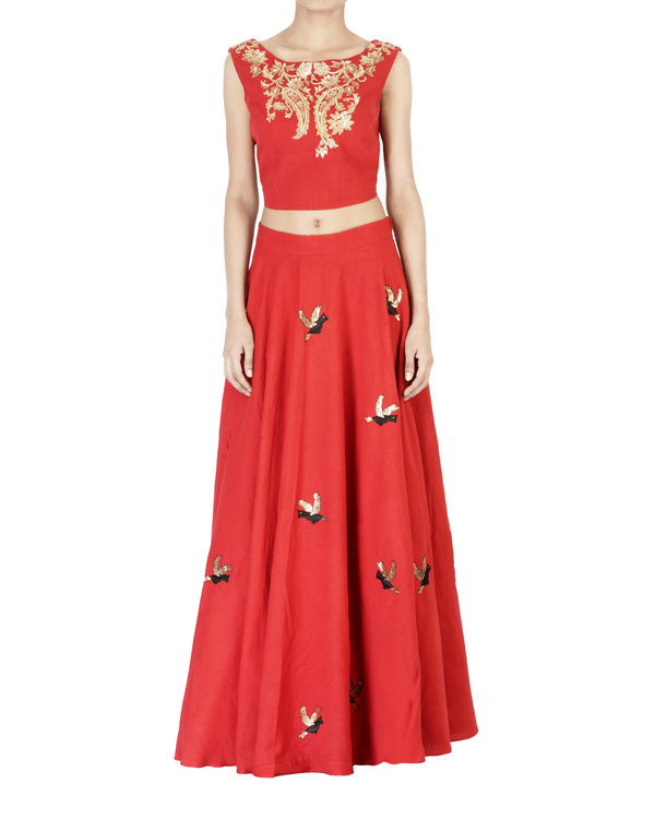 Red embroidered ball gown skirt