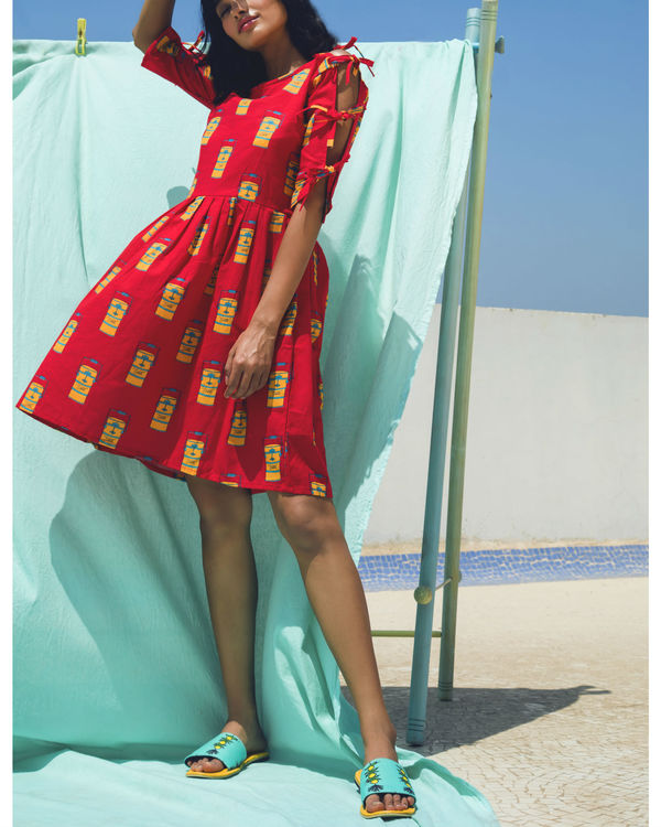 Red sleeve tie up dress