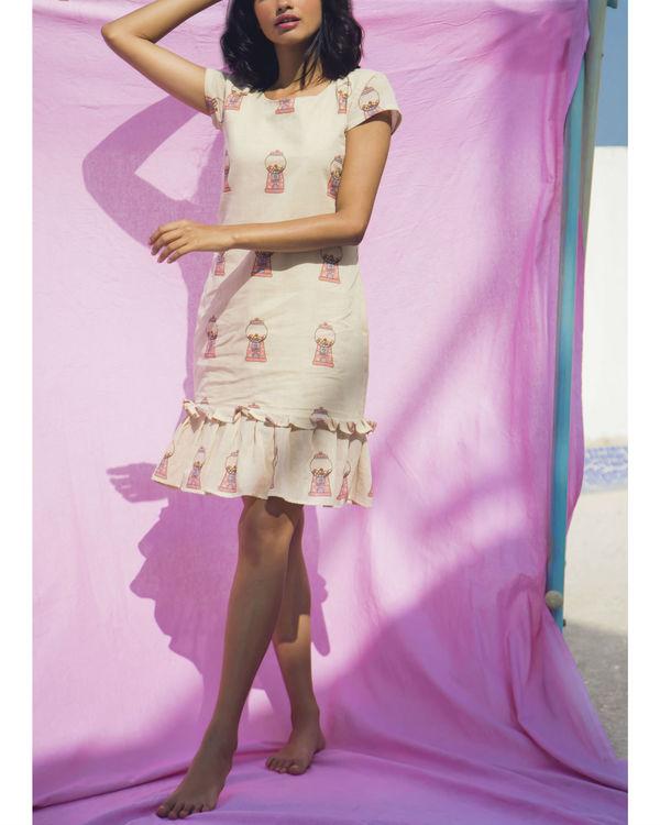 Beige frilled dress