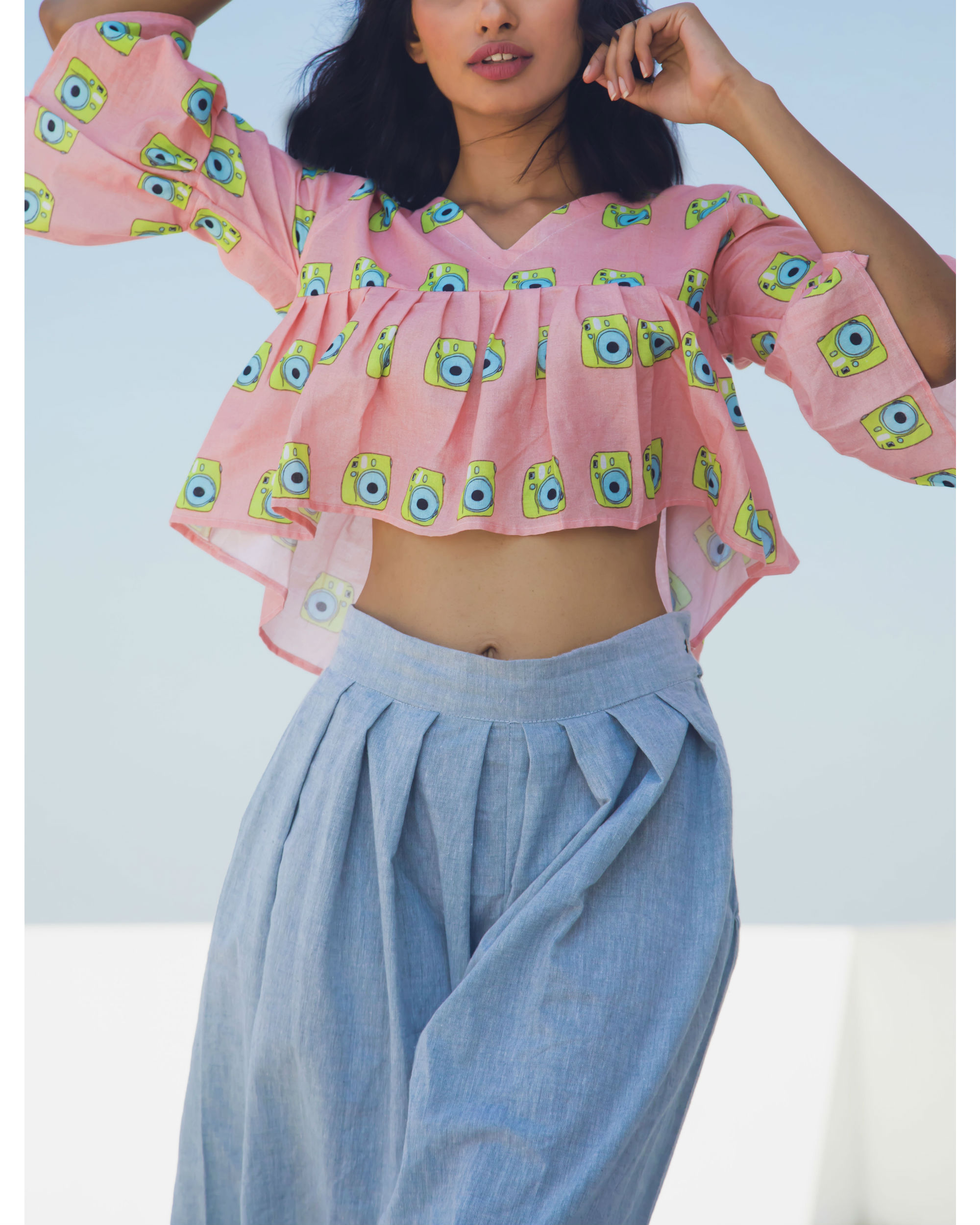 Pink and blue gathered top