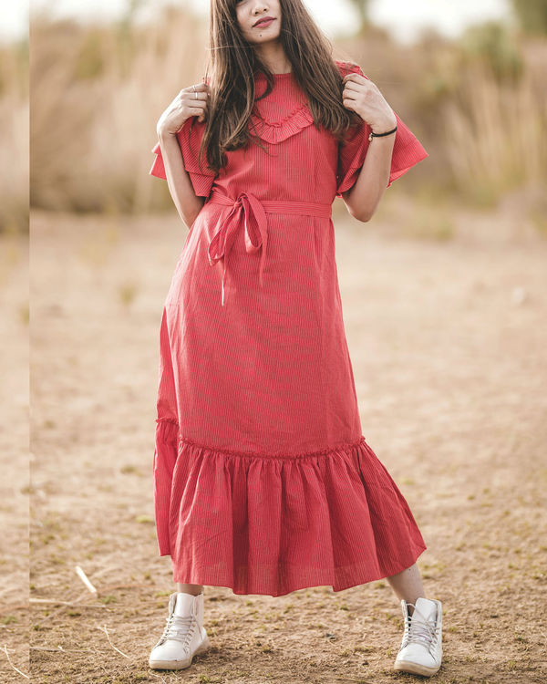 Red frilled tulip dress