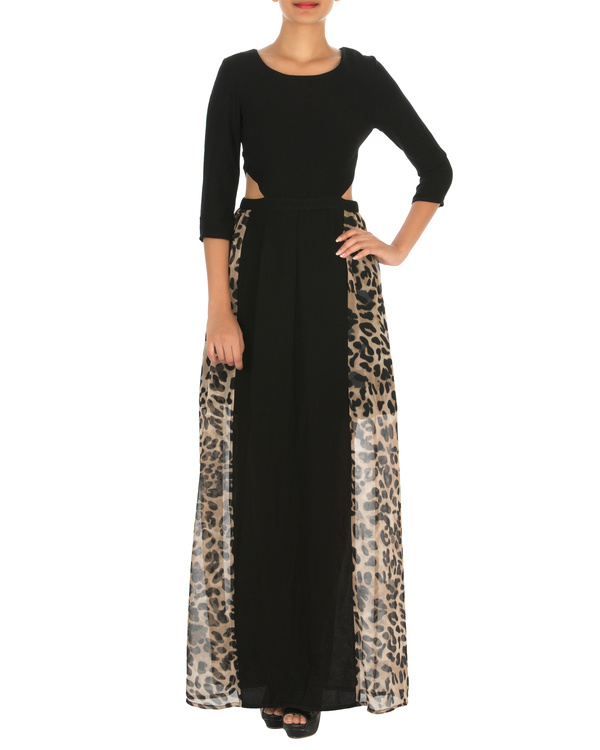 Haley cut out maxi black with animal print
