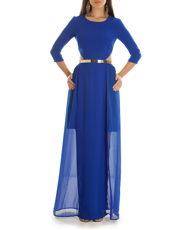 Haley Cut Out Blue Maxi Dress