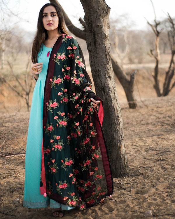 Turquoise anarkali with dupatta