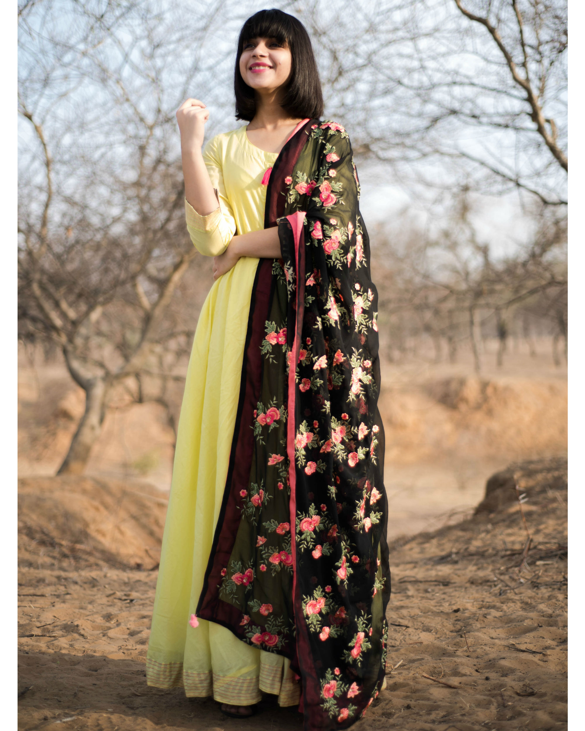 Lemon yellow anarkali with dupatta