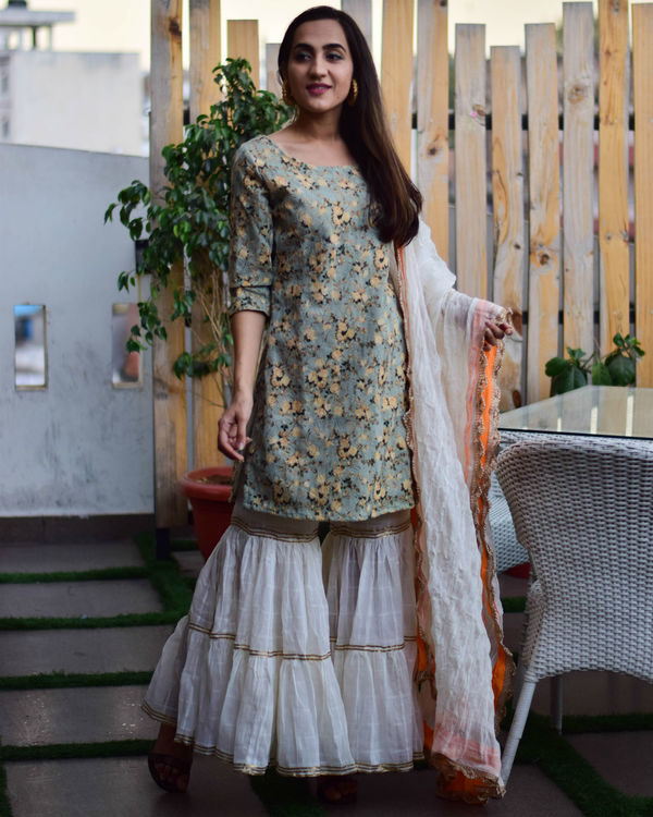 Embroidered kurta sharara set with dupatta