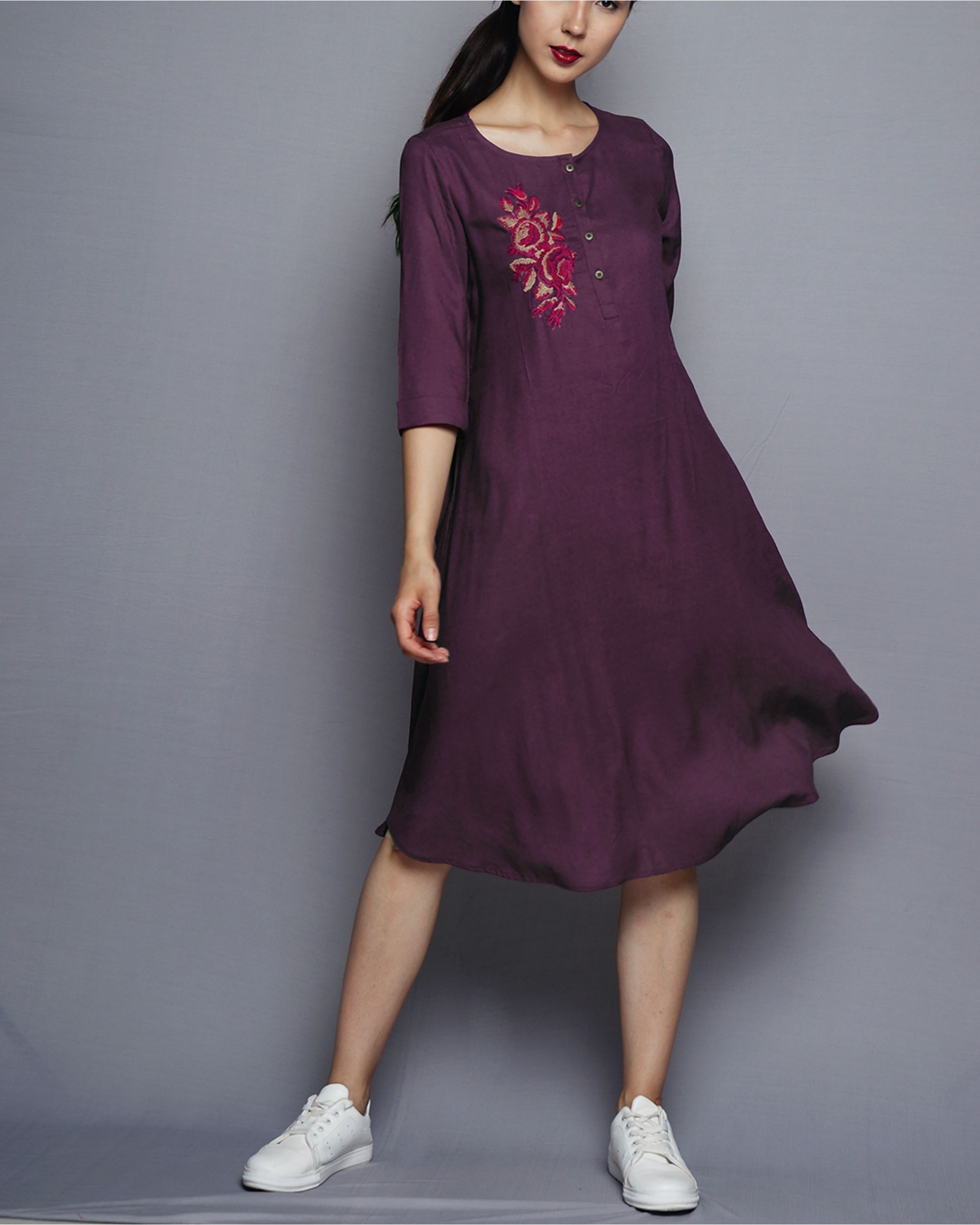 a72bb9bf879 Purple flared tunic by UNTUNG | The Secret Label