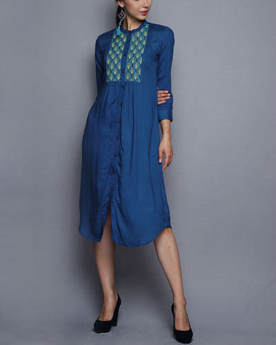 Blue Tunic With Embroidered Yoke