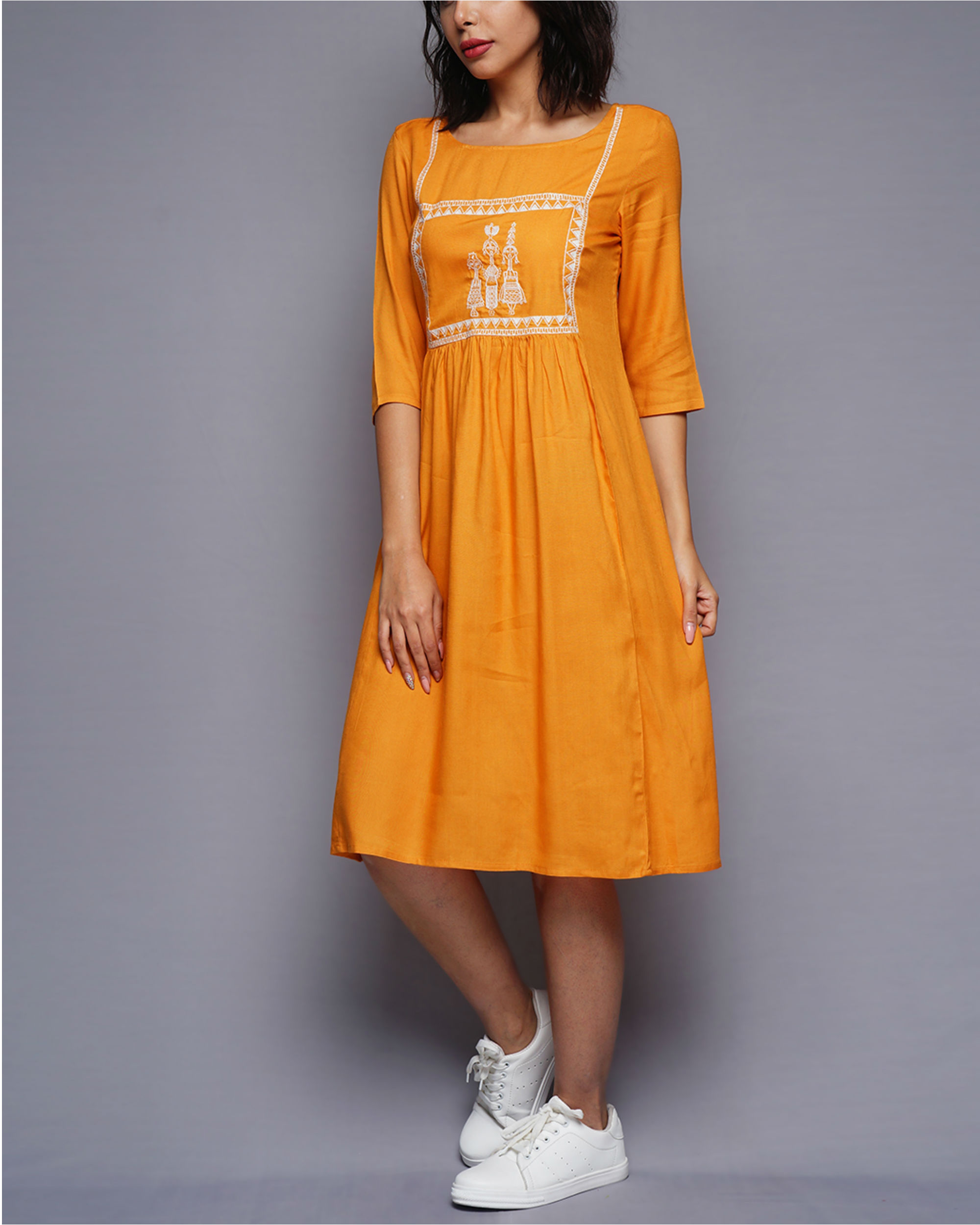 4a45f58776e7 Mustard tribal embroidered dress by UNTUNG