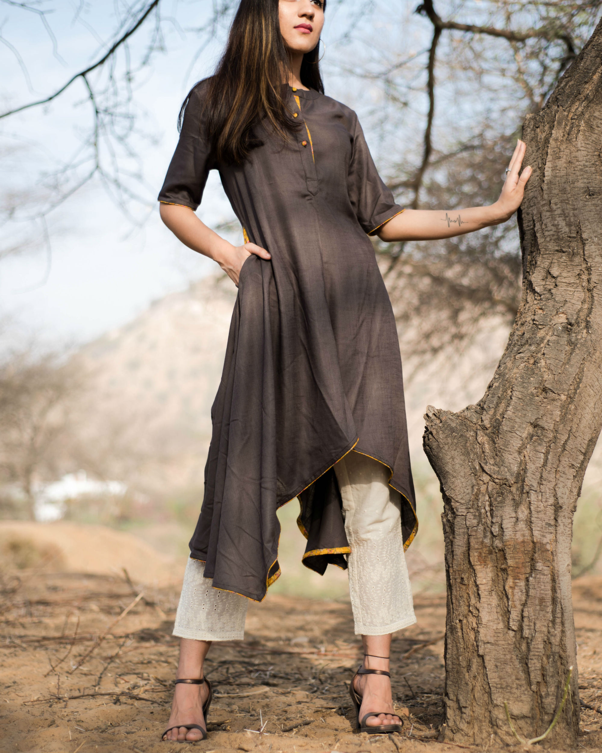 Brown asymmetric kurta pants set