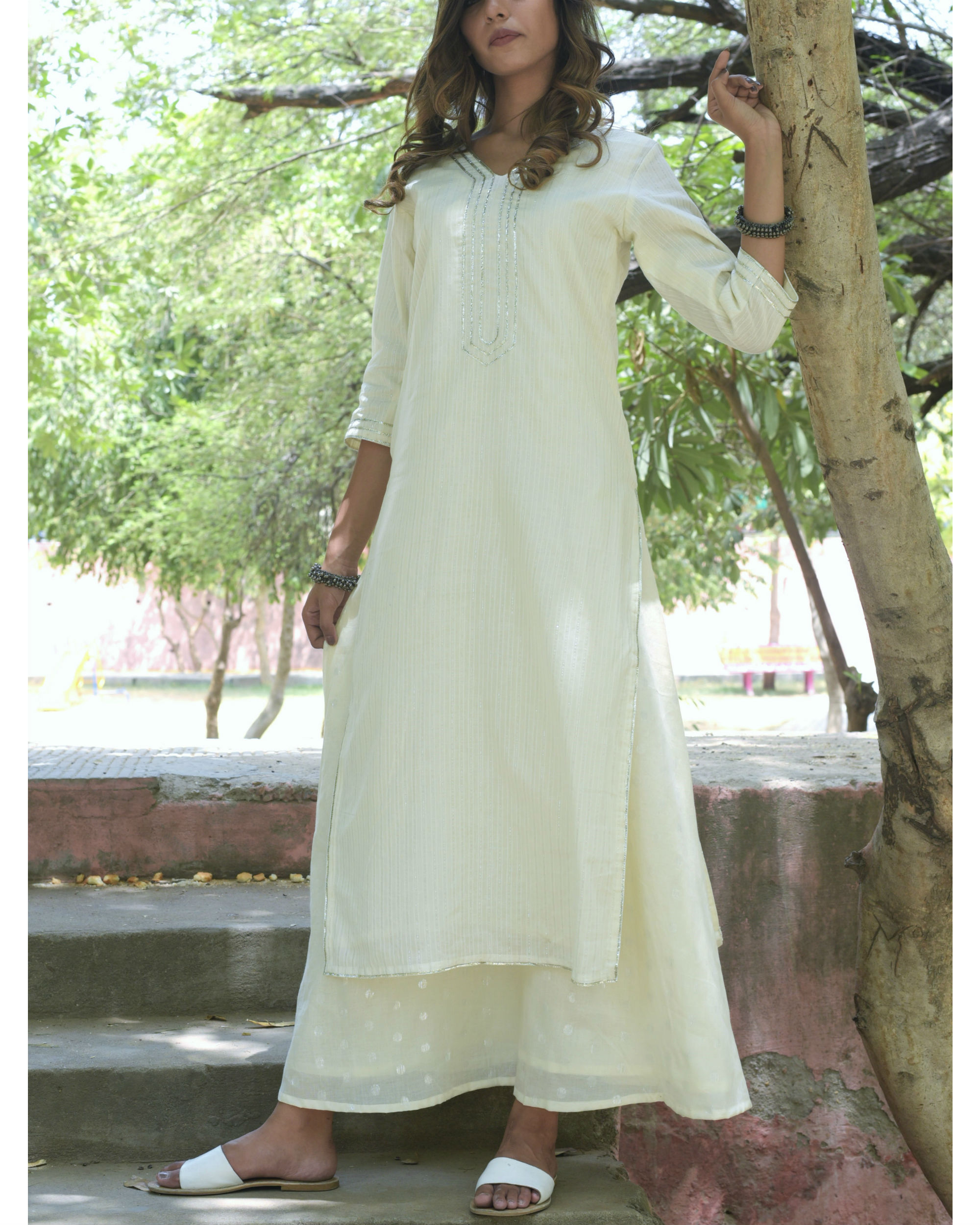 White gota double dress