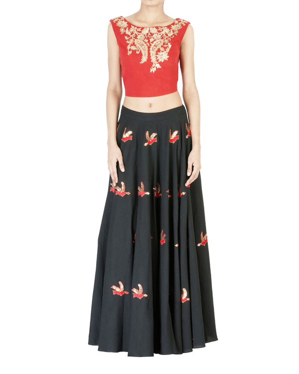 Charcoal black embroidered ball gown skirt