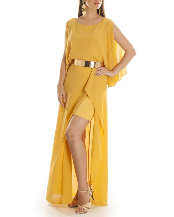 Mustard Grace draped dress
