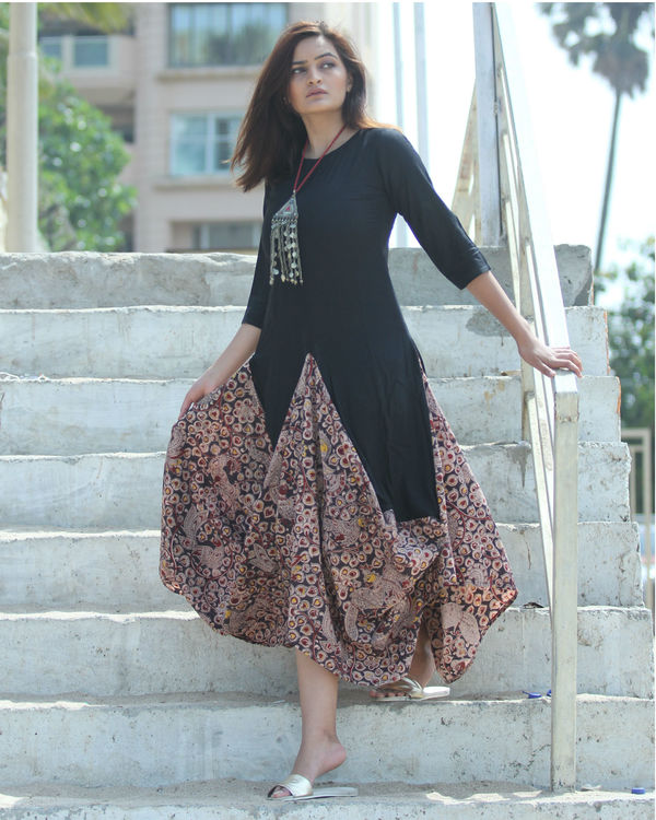 Black kalamkari dhoti dress