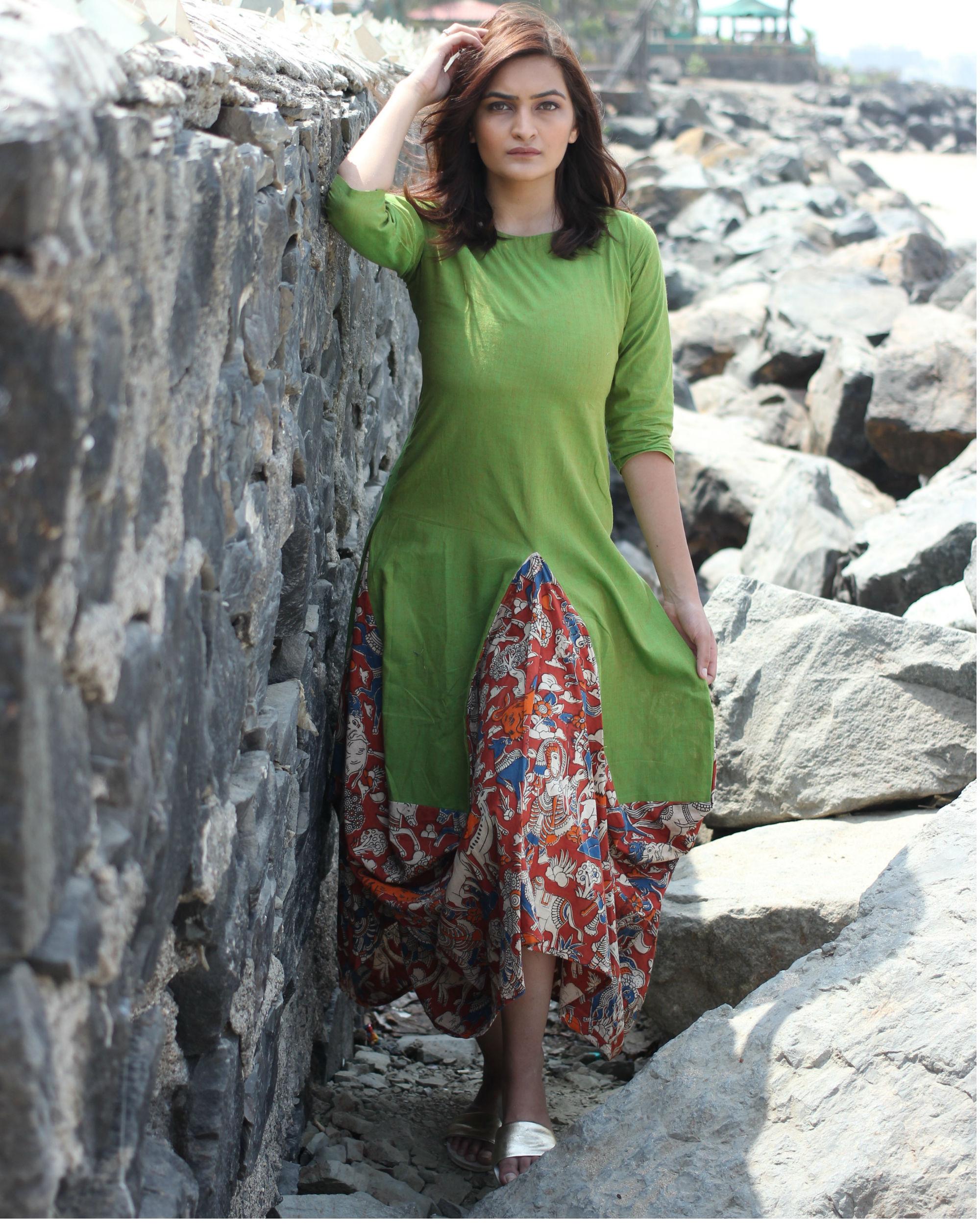 Green kalamkari dhoti dress