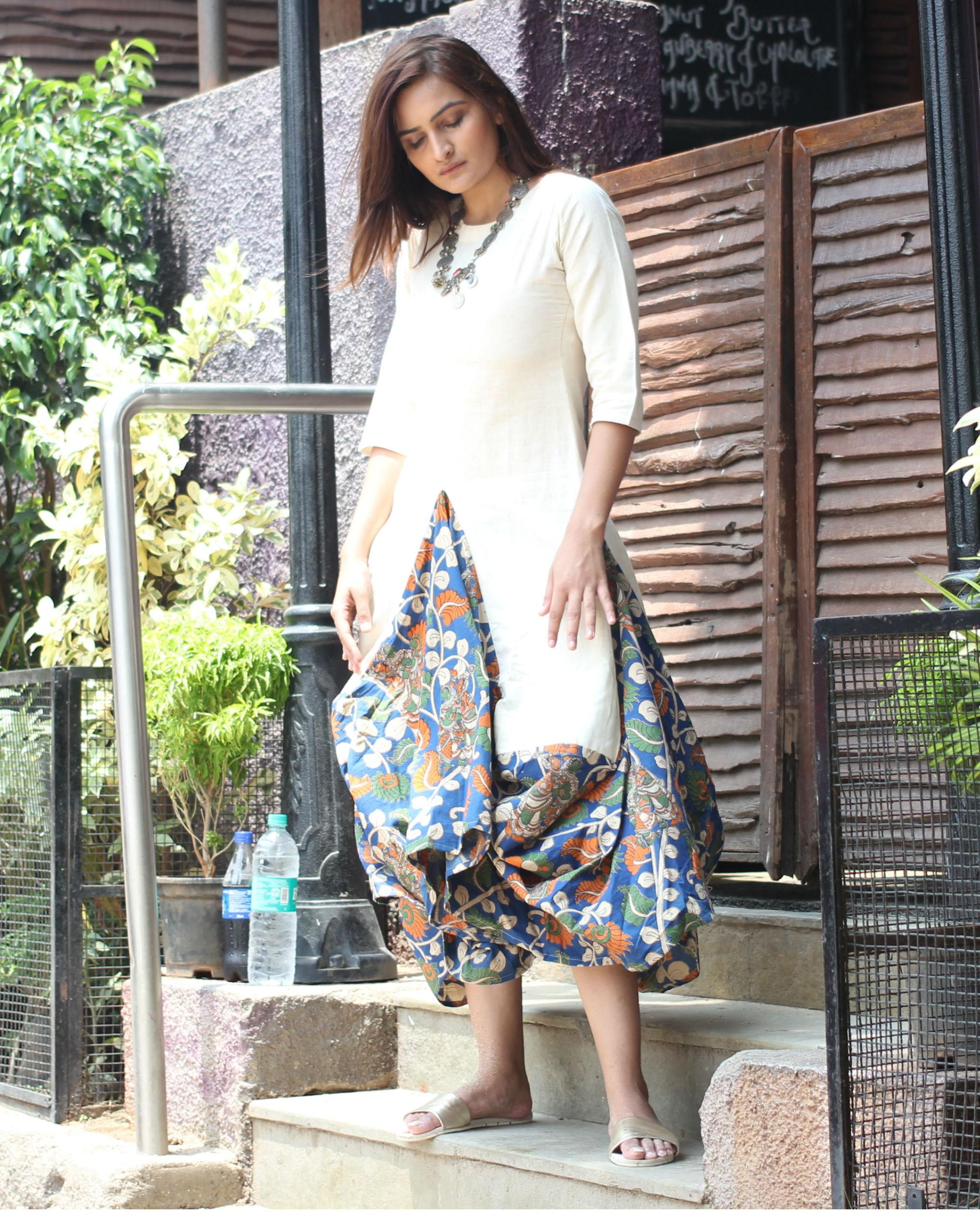 White Kalamkari Dhoti Cowl Dress