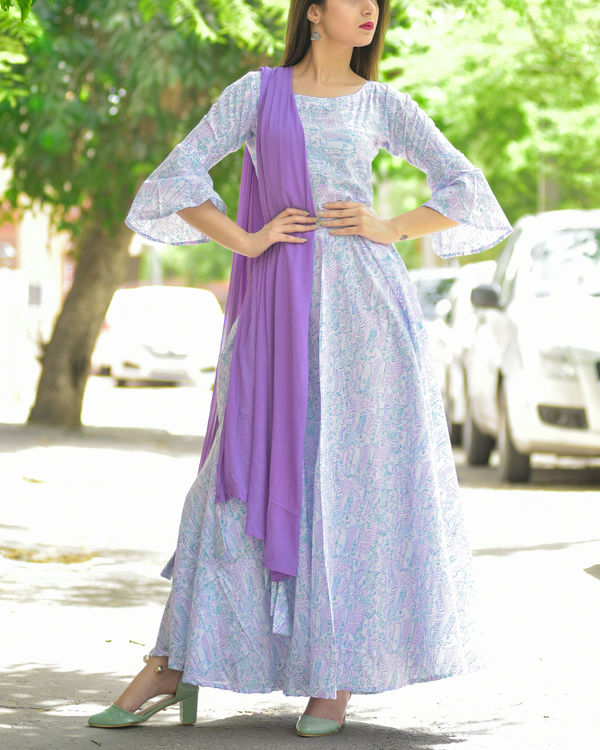 Pastel bell sleeve dress with dupatta