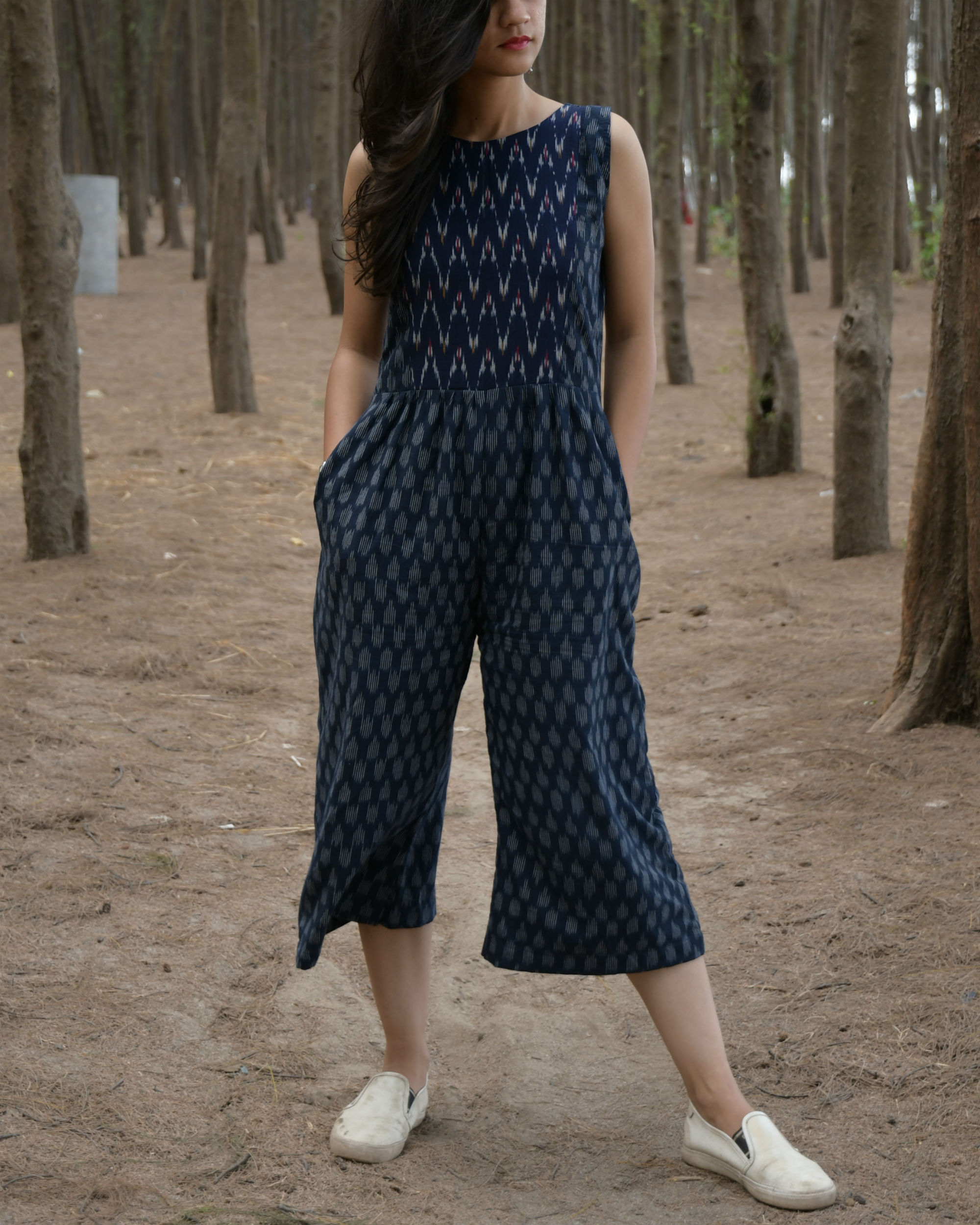 Blue and white handwoven ikat jumpsuit