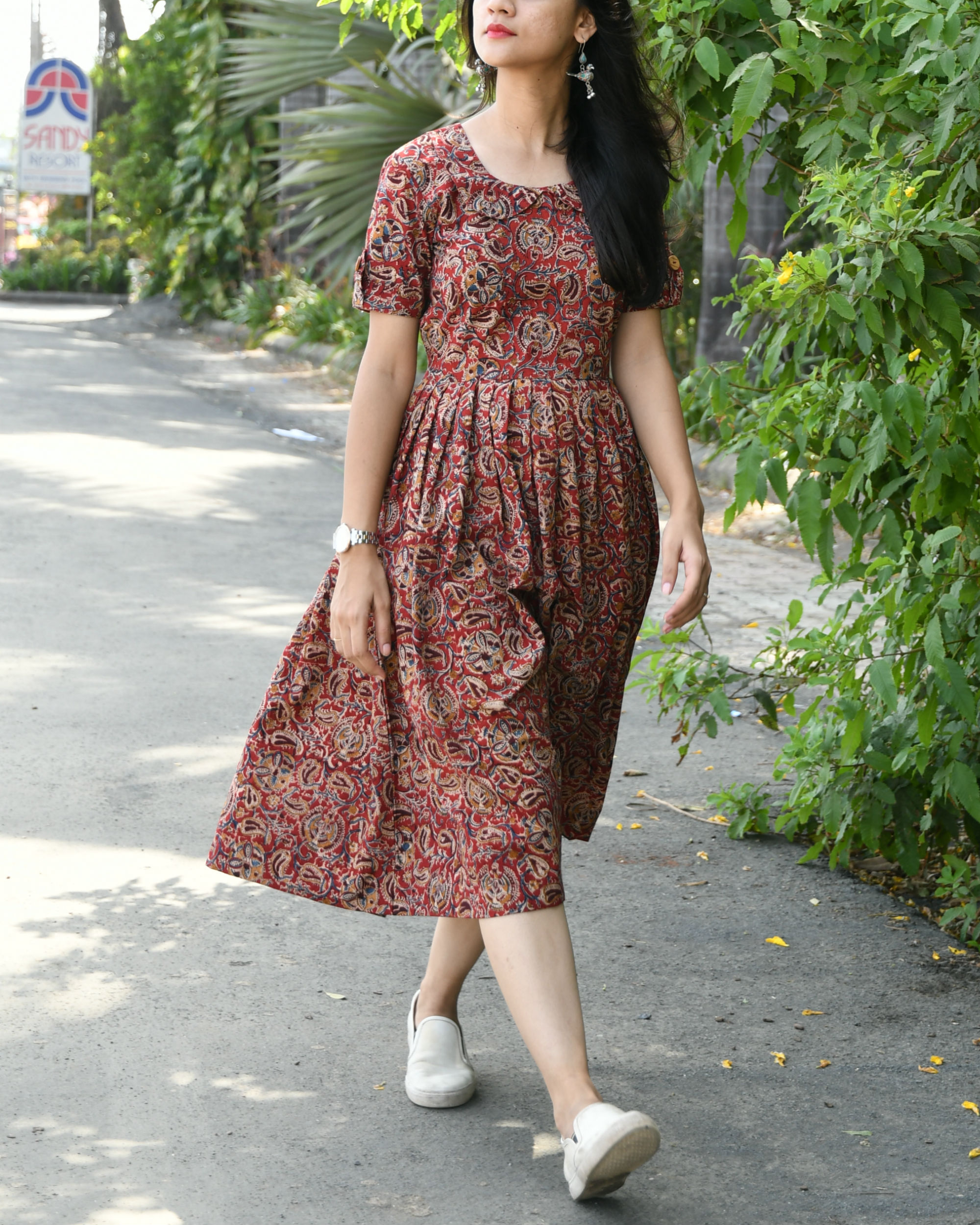 Maroon kalamkari dress