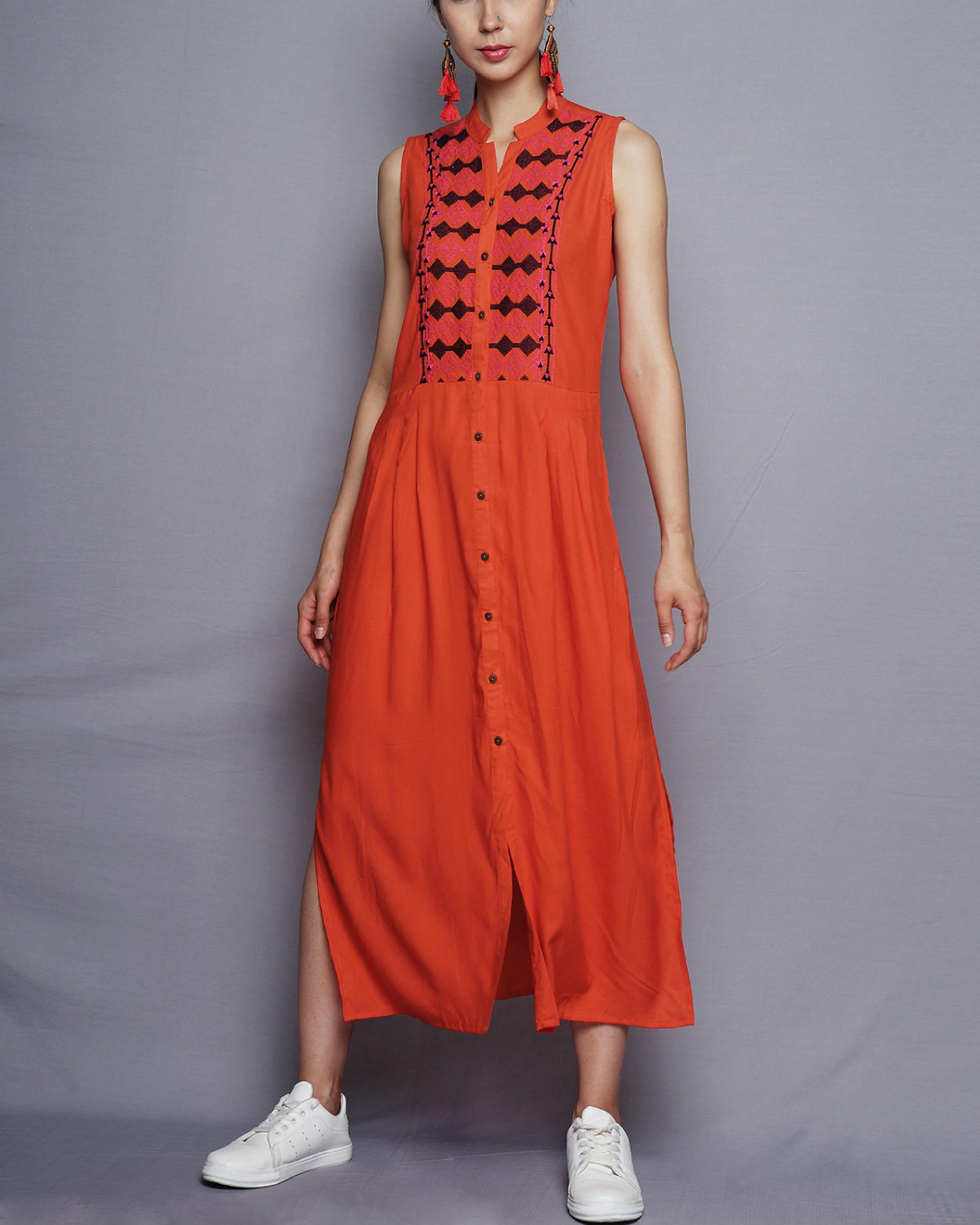 Front open orange kurta