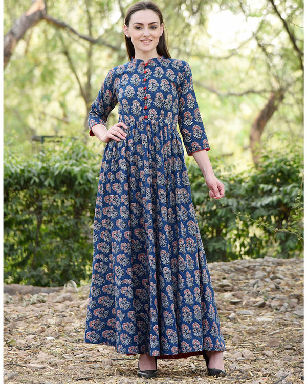 Deep blue printed dress