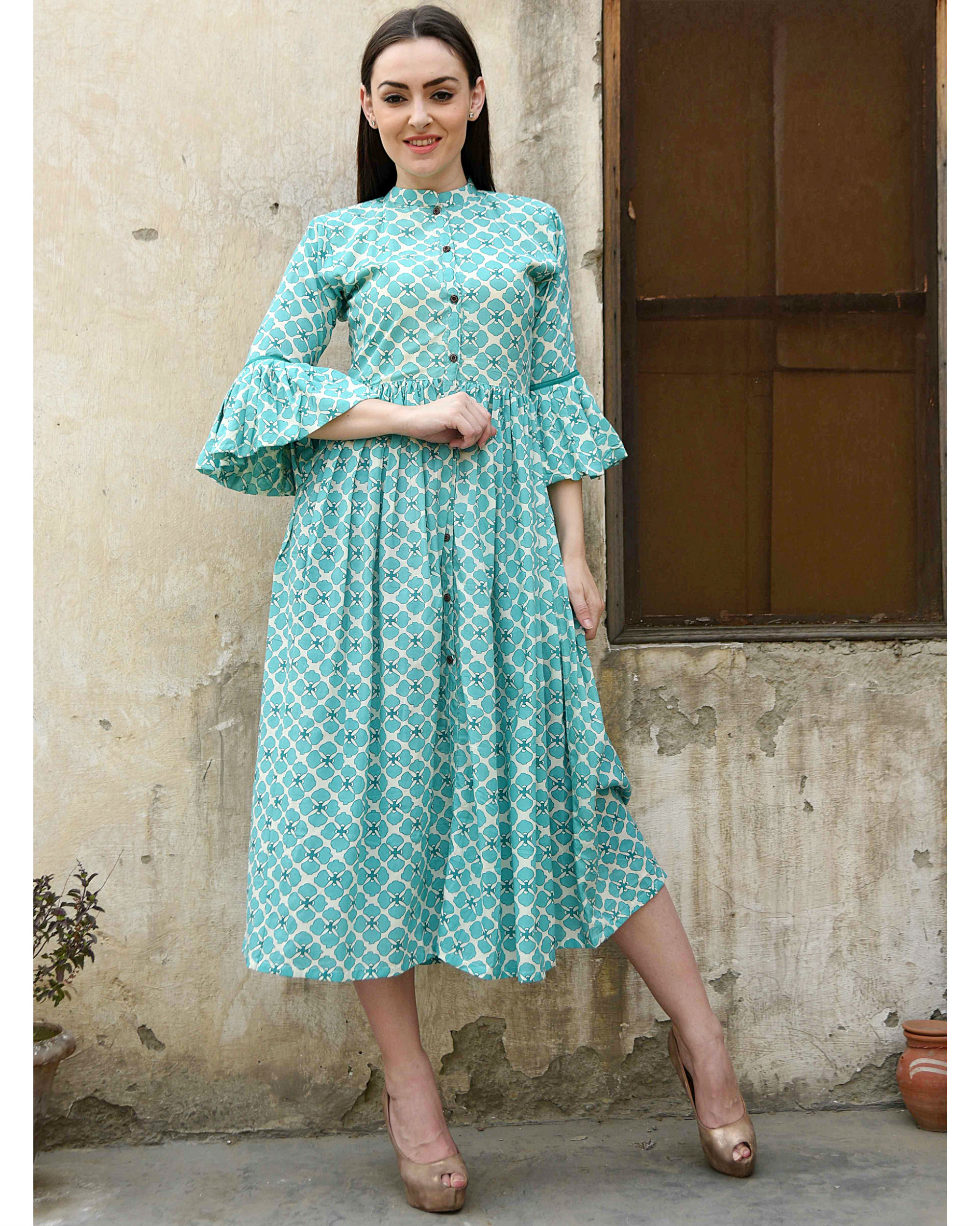 Turquoise bell sleeves dress