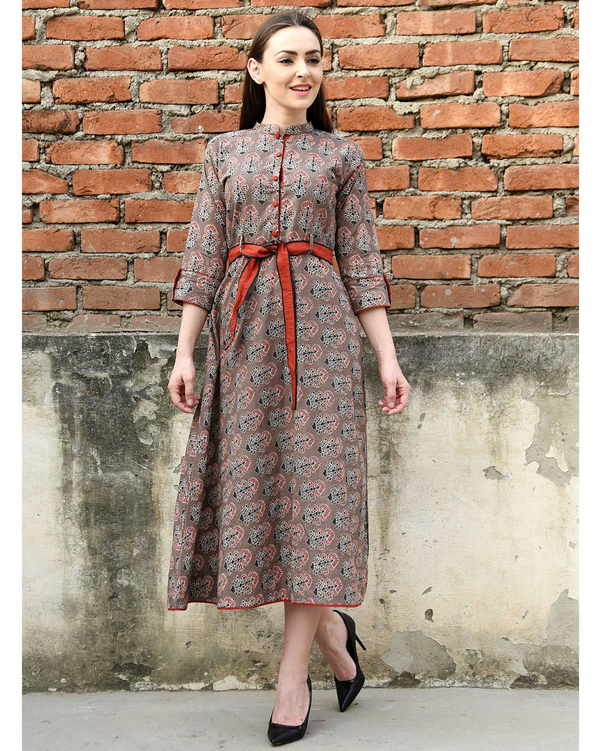 Coffee brown and red belt dress