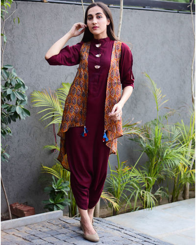 Wine Dhoti Jumpsuit With Jacket