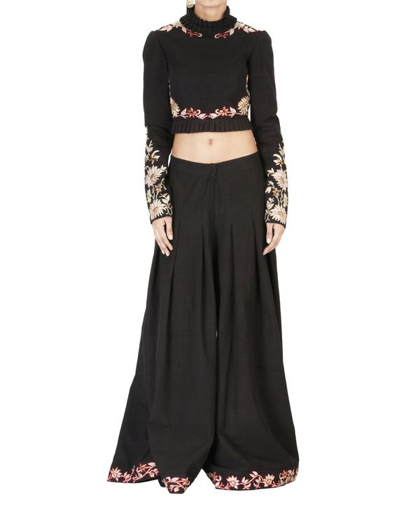 Black embroidered full sleeves crop top in malkha