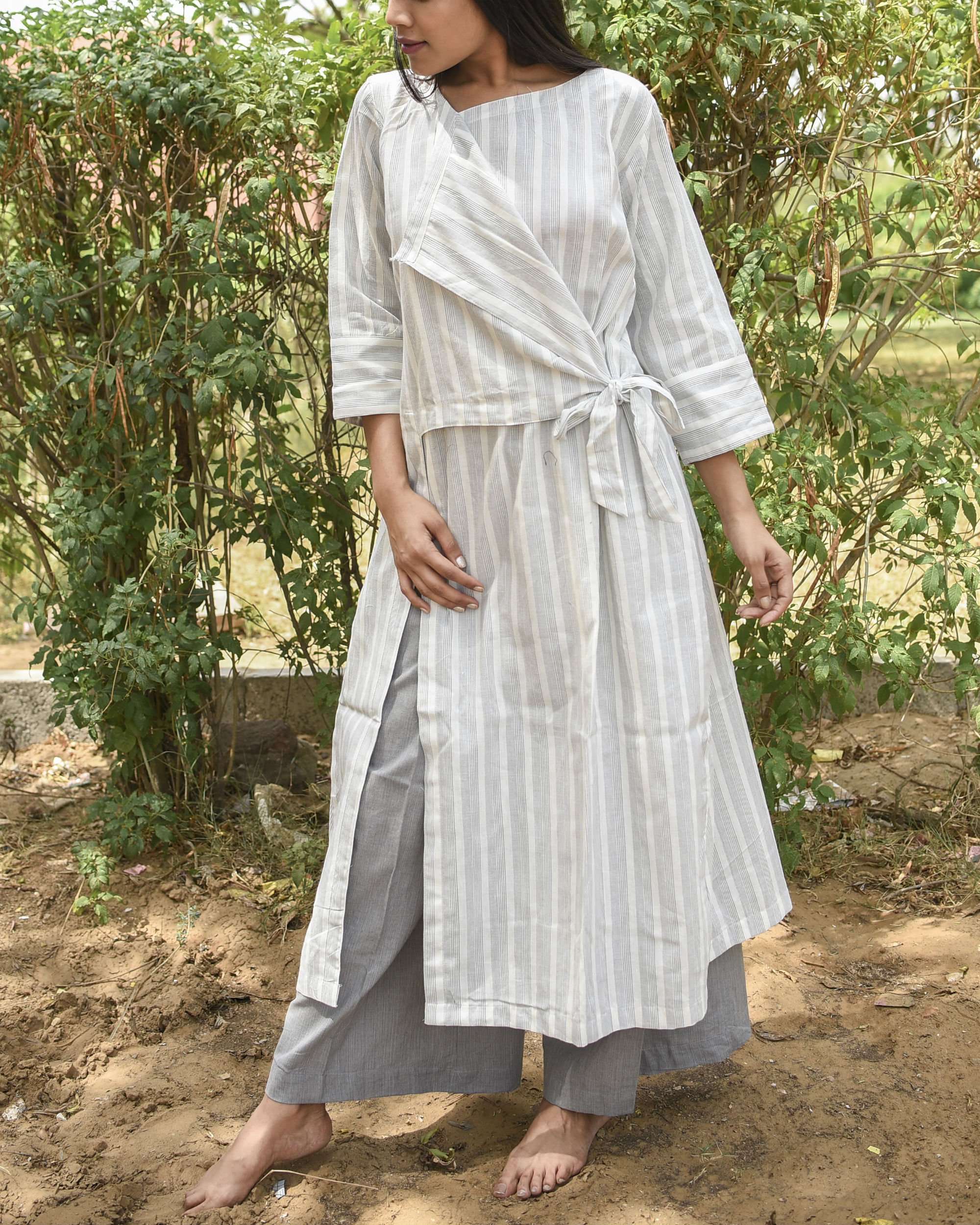 Off white side tie up dress