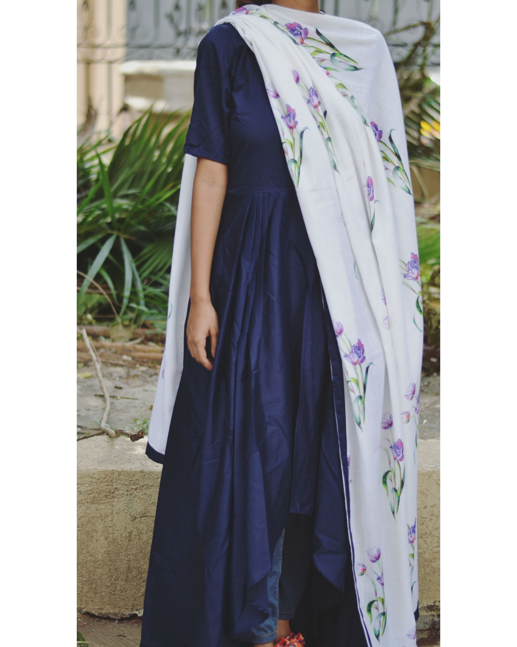 Navy high low dress with dupatta