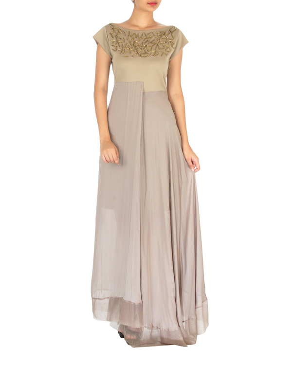 Three panelled beige gown