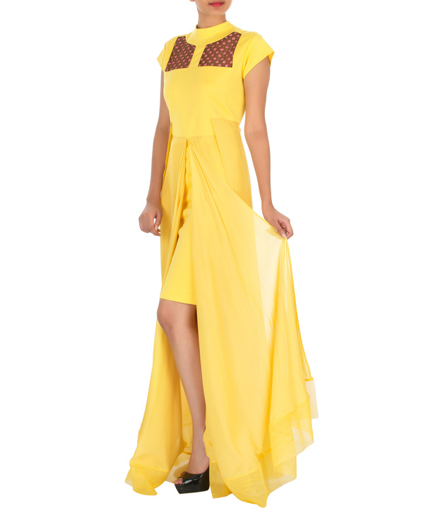 Four panelled yellow gown
