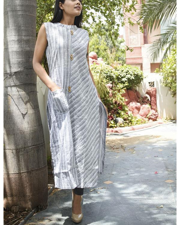 Grey striped kurta