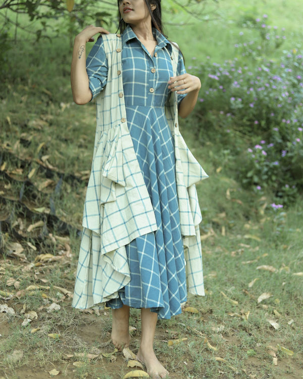 Flared mint checks dress