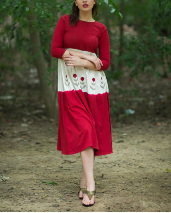 Red Mogra Swing Dress