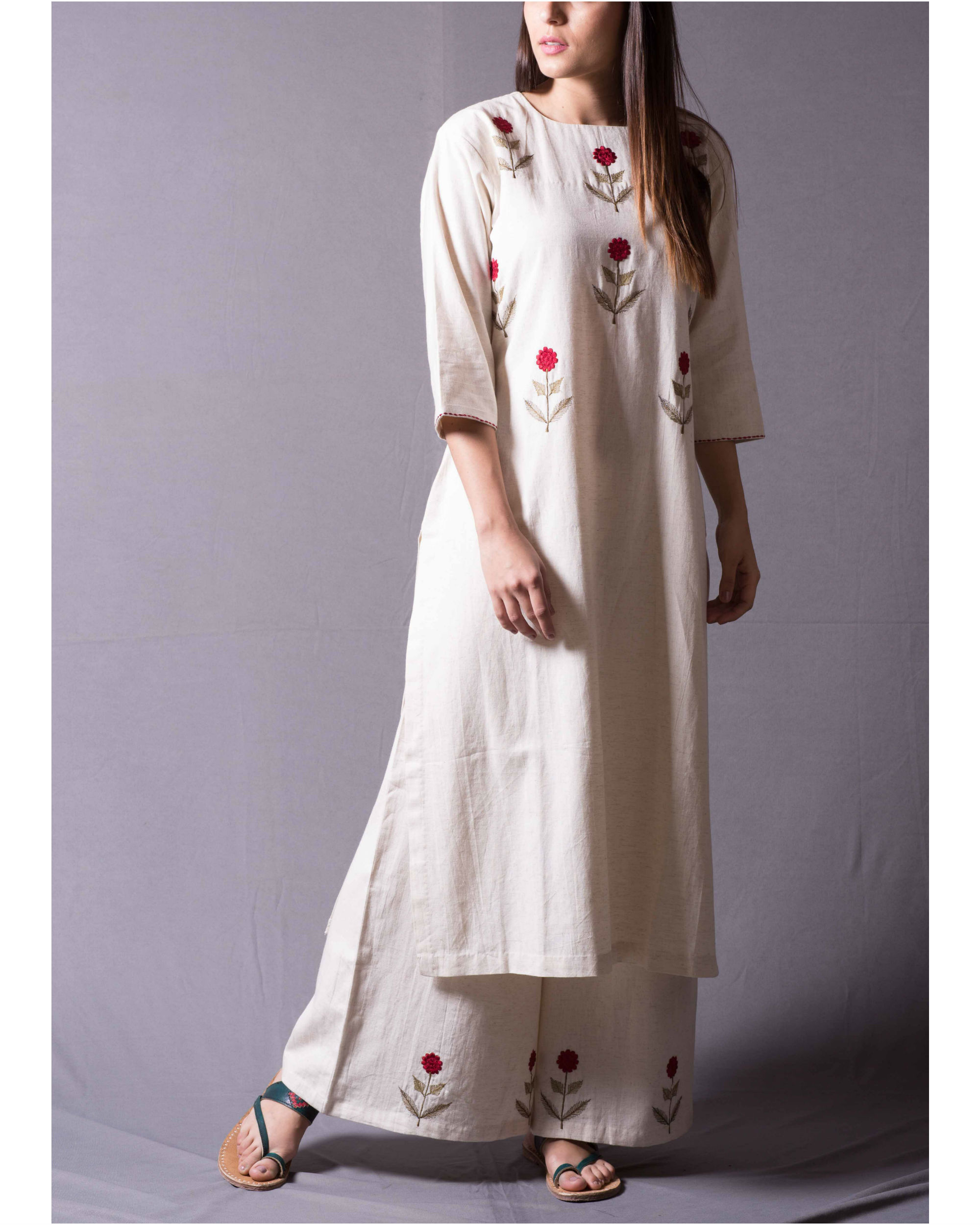 Ivory Mogra Long Kurta Set
