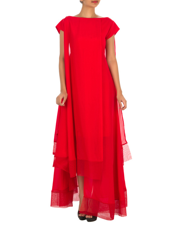 Four panelled red gown