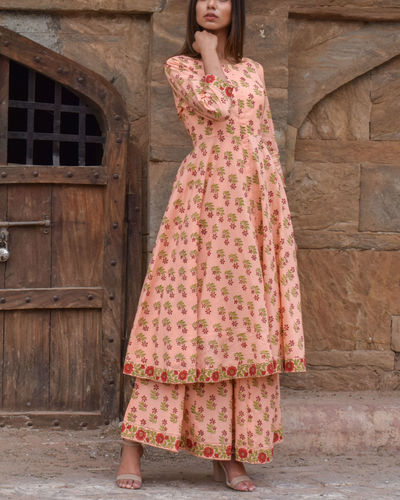 Peach Flared Kurta Set